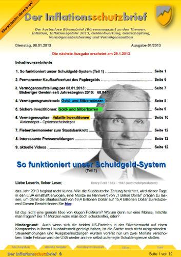 Inflationsschutzbrief 1-2013 Schuldgeld-System