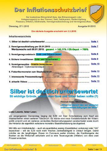 Inflationsschutzbrief 1-2015 EZB Staatsfinanzierung - Silber unterbewertet