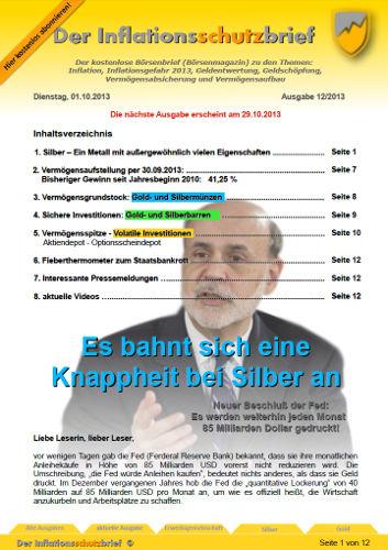 Inflationsschutzbrief 12-2013: Silber wird knapp