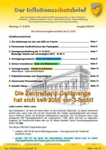Inflationsschutzbrief 20/2012 Geldmenge verdreifacht