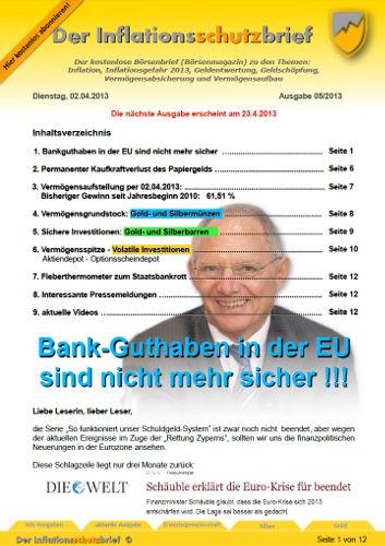 Inflationsschutzbrief Ausgabe 5-2013 Bankguthaben nicht sicher