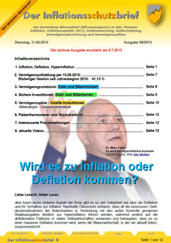 Inflationsschutzbrief 8-2013 Inflation Deflation Hyperinflation