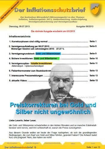 Inflationsschutzbrief 9-2013 Volatilität Gold Silber