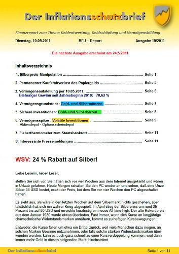 Inflationsschutzbrief Ausgabe15 / 2011 Silberpreis Manipulation