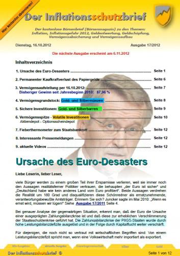 Inflationsschutzbrief 17 / 2012 - Ursache des Euro-Desasters