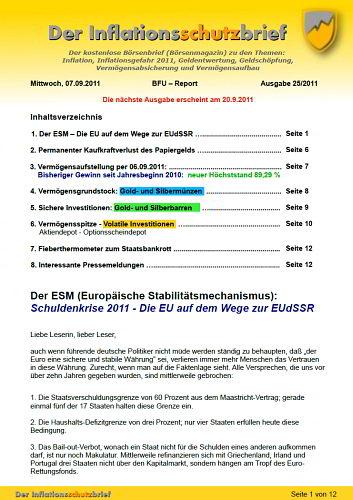 Inflationsschutzbrief Ausgabe 25 / 2011 Schuldenkrise ESM