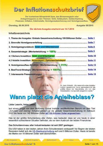 Inflationsschutzbrief 5 /2015: Anleihen - wann platzt die Blase