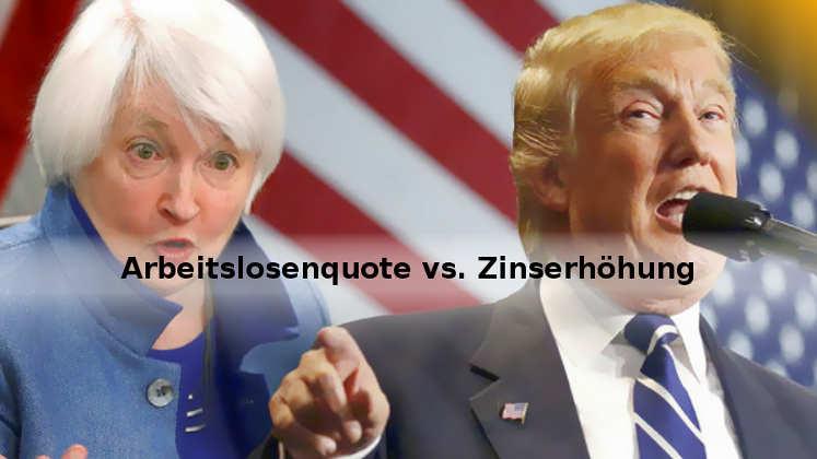 FED-Zinserhöhung, US-Arbeitslosenquote, Trump-Rezession